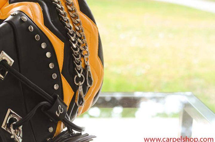 La Carrie Bag Biker giallo nero tracolla